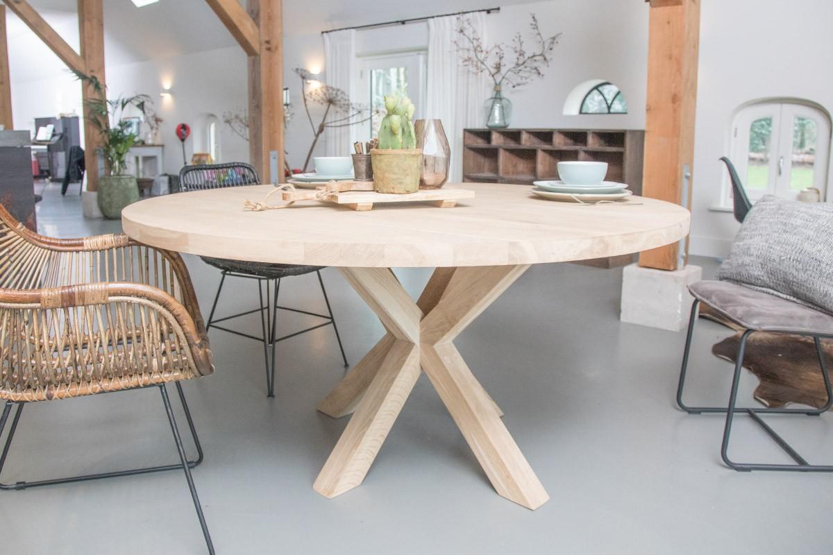 Tafel rond wit hout: meubelklik tafel beta rond dia cm noten bestel